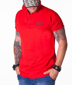 Armani Short Sleeve Polos - EA7 Classic Red Polo