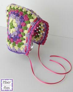 Ravelry: Vintage Granny Bonnet pattern by Fiber Flux / Jennifer Dickerson Love Crochet, Crochet Gifts, Crochet For Kids, Vintage Crochet, Knit Crochet, Granny Square Häkelanleitung, Granny Square Crochet Pattern, Crochet Granny, Crochet Patterns