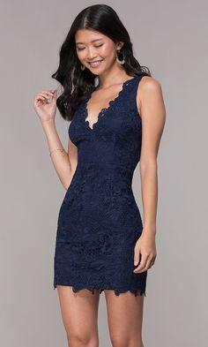 8efa51482c0c Embroidered-Lace V-Neck Homecoming Dress - PromGirl Short Pencil Skirt,  Formal Dance