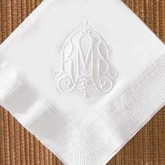 Monogram Wedding napkins | home personalized napkins victorian embossed monogrammed napkins ...