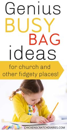 Awesome busy bag ideas for toddlers, preschoolers and elementary school kids for church and quiet places. Quiet Toddler Activities, Toddler Activity Bags, Toddler Busy Bags, Indoor Activities For Kids, Toddler Games, Busy Kids, Toddler Stuff, Toddler Fun, Activity Days