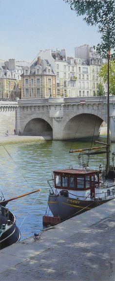 Paris. Le Pont Neuf et les premières maisons de la Place Dauphine.