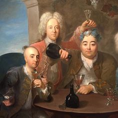"Detail via Instagram from ""Bacchanalian Piece: Sir Thomas Samwell and Friends"" by Philippe Mercier (c. 1733) Oil on canvas. ""Samwell is the man sat in the middle who appears to have a garland of flowers around his head and one of his friends John Neal is seen holding a wine goblet just above Samwell's head..."" See full artwork here: http://www.hellovancity.com/arts-culture/whistlers-audain-art-museum-showing-masterworks-from-the-beaverbrook-art-collection/"