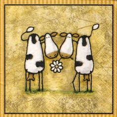 Serviette 'vaches rigolotes' : Serviettage, Décopatch par nicole3011