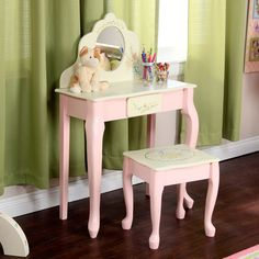 off white makeup vanity. Teamson Kids Bouquet Girls Oval Mirror Bedroom Vanity  Stool Set Off White Makeup W Queen Anne Legs One Drawer