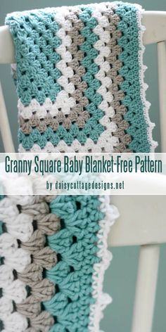 Free Crochet Pattern Granny Square Baby Blanket-best baby blankets for for begin. Free Crochet Pattern Granny Square Baby Blanket-best baby blankets for for beginners curated by cra Motifs Granny Square, Granny Square Pattern Free, Crochet Baby Blanket Free Pattern, Crochet For Beginners Blanket, Baby Knitting Patterns, Baby Granny Square Blanket, Easy Granny Square, Crochet Square Blanket, Baby Blankets To Crochet