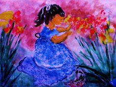 She found the flowers, watercolor,  from my chids paintings series, to see more go to:  redbubble.com/people/restofmine1951