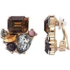 Simply Vera Vera Wang Geometric Stone Cluster Nickel Free Clip On... ($10) ❤ liked on Polyvore featuring jewelry, earrings, multicolor, nickel free earrings, gold colored earrings, geometric earrings, nickel free clip on earrings and clip earrings