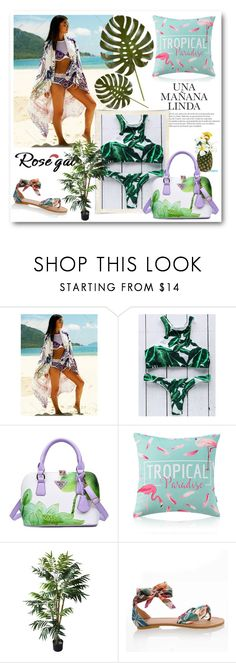 """""""Palm Leaf Print High Neck Bikini"""" by mery66 ❤ liked on Polyvore featuring TradeMark"""