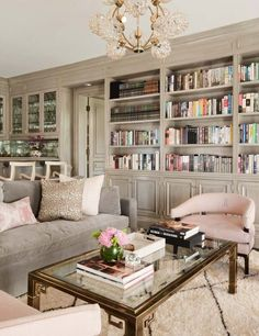 Cozy and Colorful Pastel Living Room Interior Style 43 Living Room Decor, Living Spaces, Dining Room, Taupe Living Room, Bookcase In Living Room, Pastel Living Room, Pastel Room, Sweet Home, Home Libraries