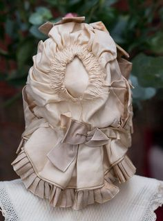 Antique Original French Silk Wire Framed Bavolet Bonnet for Jumeau Bru from respectfulbear on Ruby Lane