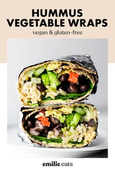 This Hummus Vegetable Wrap is a great on-the-go lunch option! Stuff it with all of your favorite vegetables, beans