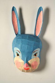 Papier Mache Bunny Mask by dédé au château.  See more of her fantastic work here: http://www.flickr.com/photos/dedeauchateau/sets/72157600009028153/