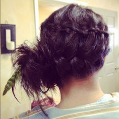 Braid and side bun with feather