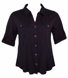STYLE & CO 1X 14/16 Black Tab Sleeve Chest Pockets Button Down Blouse Top-NWT  #Style & Co#Womens#Plus Size#Button Down Shirt#Casual/Work
