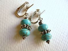 Turquoise & Silver Clip On Earrings: so lovely.