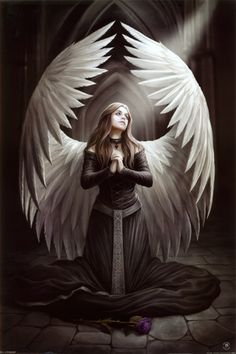 Anne Stokes Prayer for the Fallen Gothic Angel Girl Wings Magic Poster - Anne Stokes, Gothic Angel, Gothic Art, Gothic Beauty, Fantasy Kunst, Fantasy Art, Angel Drawing, Angel Pictures, Angels And Demons