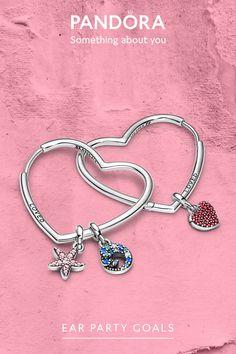 Pandora Earrings, Pandora Bracelet Charms, Pandora Jewelry, Heart Earrings, Charm Bracelets, Millie Bobby Brown, New Pandora, Ideias Fashion, Vintage Jewelry