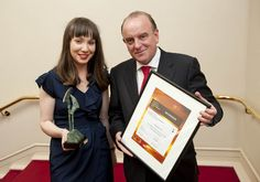 Nigel Heneghan, Managing Director of Heneghan PR with Emma Gallagher, Account Executive. Heneghan PR and Knock Airport were the winners of the Best Public Affairs Campaign