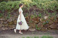 Vintage Wedding Dresses & Unique Floral Accessory Ideas. Tea Length lace vintage wedding dress with sleeves, modest wedding dress.