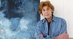 """""""The artist Helen Frankenthaler in her studio on Contentment Island in Darien, Conn., in 2003, with her work, """"Blue Lady,"""" acrylic on paper."""" (NYT)"""