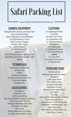 The Ultimate Overland Safari Packing List: The best resource for all your packing needs. Tech, Camera Equipment, Gear, Clothes - it's all covered here! Uganda, Safari Outfits, Safari Clothes, South Africa Safari, Tanzania Safari, East Africa, Couple Travel, Africa Destinations, Les Continents