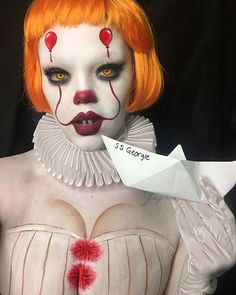 If seeing IT hasn't adequately horrified you from now till Halloween why not take on the infamous Pennywise as your costume for this year. The good news is, quick Pennywise Halloween costume suggestions is relatively simple. Clown Halloween, Cool Halloween Makeup, Halloween Inspo, Halloween 2018, Halloween Party, Halloween Halloween, Halloween Recipe, Vintage Halloween, Most Popular Halloween Costumes