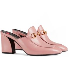 Gucci Princetown Leather Mid-Heel Mule (€610) ❤ liked on Polyvore featuring shoes, light pink, gucci mules, high heeled footwear, mid-heel shoes, leather high heel shoes and light pink high heel shoes
