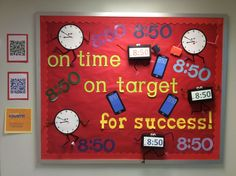 This is one of my September bulletin boards that was on the main hall for the first day of school and Back-to-School Night. Attendance Display, Attendance Incentives, Attendance Board, School Attendance, Attendance Ideas, Elementary School Office, Elementary Counseling, School Social Work, School Counseling