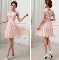 Mini vestido calados de encaje bodycon del vendaje dama de honor del baile sexy rosa claro