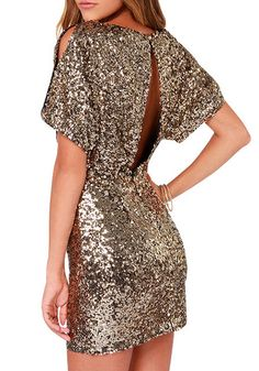 Gold Sequins Dress - Shinny Sequins Dress