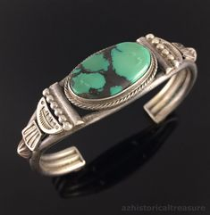 NATIVE AMERICAN NAVAJO STERLING SILVER TURQUOISE CUFF BRACELET by OSCAR ALEXIUS