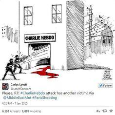 """So reagieren Zeichner aus aller Welt auf den Tod ihrer Kollegen beim Satiremagazin Charlie Hebdo"""": """"Die Attacke hat noch ein zweites Opfer"""", drückt Carlos Latuff mit seiner Karikatur aus. Mehr dazu hier: http://www.nachrichten.at/nachrichten/weltspiegel/Charlie-Hebdo-als-Zeitschrift-der-Ueberlebenden;art17,1598439 (Bild: Carlos Latuff)"""