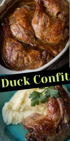 Entree Recipes, Side Dish Recipes, Meat Recipes, Appetizer Recipes, Dinner Recipes, Cooking Recipes, Baked Duck Recipes, Chicken Confit, Crescent Chicken