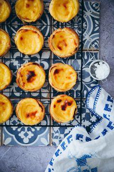 Recipe for Pasteis de Nata - pasteis pastel de nata recipe recipe portuguese custard tarts portuguese custart tarts puff pastry - Custard Recipes, Puff Pastry Recipes, Sweet Recipes, Snack Recipes, Dessert Recipes, Gourmet Desserts, Plated Desserts, Pie Recipes, Muffins