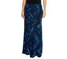Susan Graver Printed Liquid Knit Maxi Skirt
