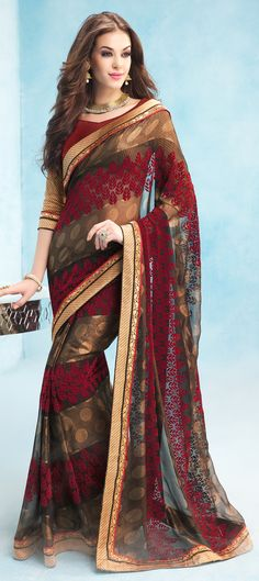174009: Beige and Brown, Black and Grey color family Embroidered Sarees, Party Wear Sarees with matching unstitched blouse.