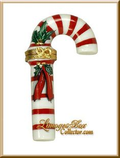 Christmas Candy Cane Limoges Trinket Box (Beauchamp)