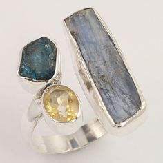 925 Sterling Silver Fashionable Ring Size US 8 Natural CITRINE & Other Gemstones #Unbranded
