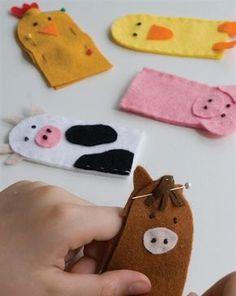 Make your own felt farmyard finger puppets #diy