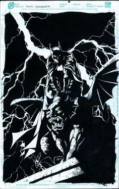 "BATMAN on GARGOYLE Original Artwork 11""x17"" Comic Artboard Uncertified   eBay"