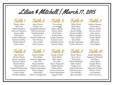Border Wedding Seating Chart, Guest Chart, Guest List, Reception Seating, DIY Seating Chart, DIY, Table Numbers, Place Cards, Escort Cards on Etsy, $35.00