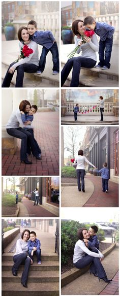 Mother son photoshoot, Valentine's Day family photoshoot, 5 year old boy and mother out on a date in the city