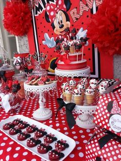 Custom made mini desserts for a minnie mouse birthday party by candy vixen custom candy bar Minnie Mouse Birthday Decorations, Minnie Mouse First Birthday, Minnie Mouse Theme, Minnie Mouse Baby Shower, Mickey Party, Mickey Mouse Birthday, Minnie Mouse Candy Bar, Red Birthday Party, First Birthday Parties