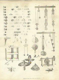 Mechanics Engineering Pulley Weights  Antique Steel Engraving Print 1812 Vintage
