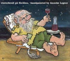 """ Vinter på Sicilien "", handpainted by Anneke Legeer, the Netherlands, naar voorbeeld van Rolf Lidberg. Faeries, Finland, Netherlands, Fantasy Art, Scandinavian, Van, Hand Painted, Adult Coloring, Illustration"