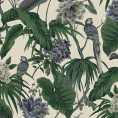 Embrace your inner sense of wanderlust by introducing House of Hackney's 'Paradisa' wallpaper into your home. Artfully printed with painterly parrots and palm fronds, the cool blue and verdant green colour palette pops against a backdrop of off-white. Wallpaper Off White, Luxury Wallpaper, Green Wallpaper, Rose Wallpaper, Wallpaper Samples, Print Wallpaper, Hallway Wallpaper, Chinese Wallpaper, Linen Fabric