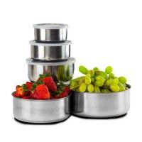 10 Piece Set: Home Collections BPA Free Stainless Steel Storage Bowl Set with Clear Plastic Lids