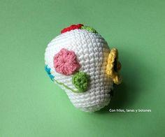 Sugar Scull, Lana, Macrame, Crochet Hats, Beanie, Crochet Ornaments, Fabrics, Halloween Stuff, Amigurumi Doll