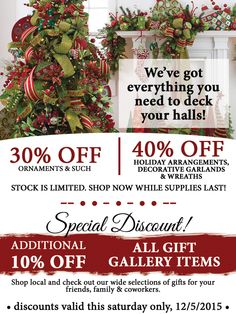 Saturday Dec. 5th ONLY! 30-40% off Holiday Decor + bonus 10% off gift gallery goodies! Home Interior Warehouse